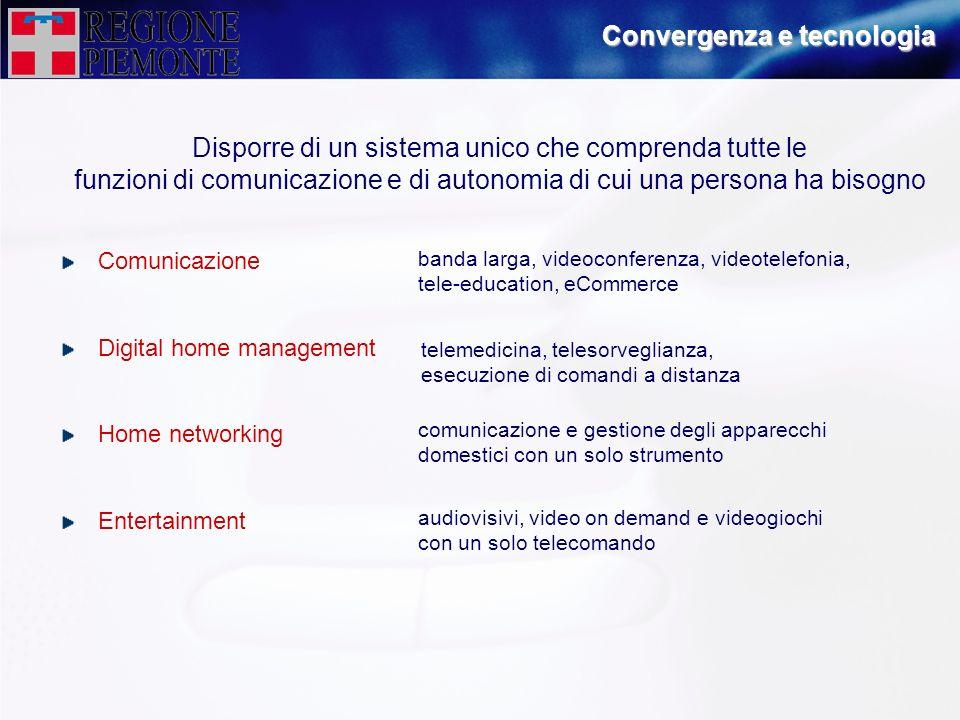 Convergenza e tecnologia Disporre di un sistema unico che comprenda tutte le funzioni di comunicazione e di autonomia di cui una persona ha bisogno Co