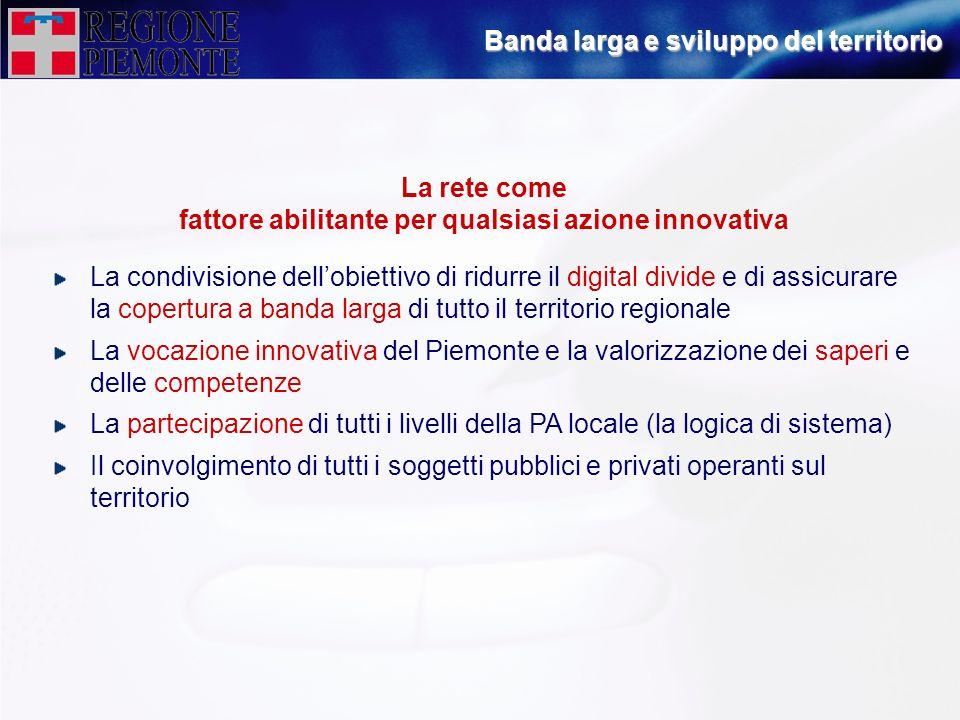 La rete come fattore abilitante per qualsiasi azione innovativa La condivisione dellobiettivo di ridurre il digital divide e di assicurare la copertur
