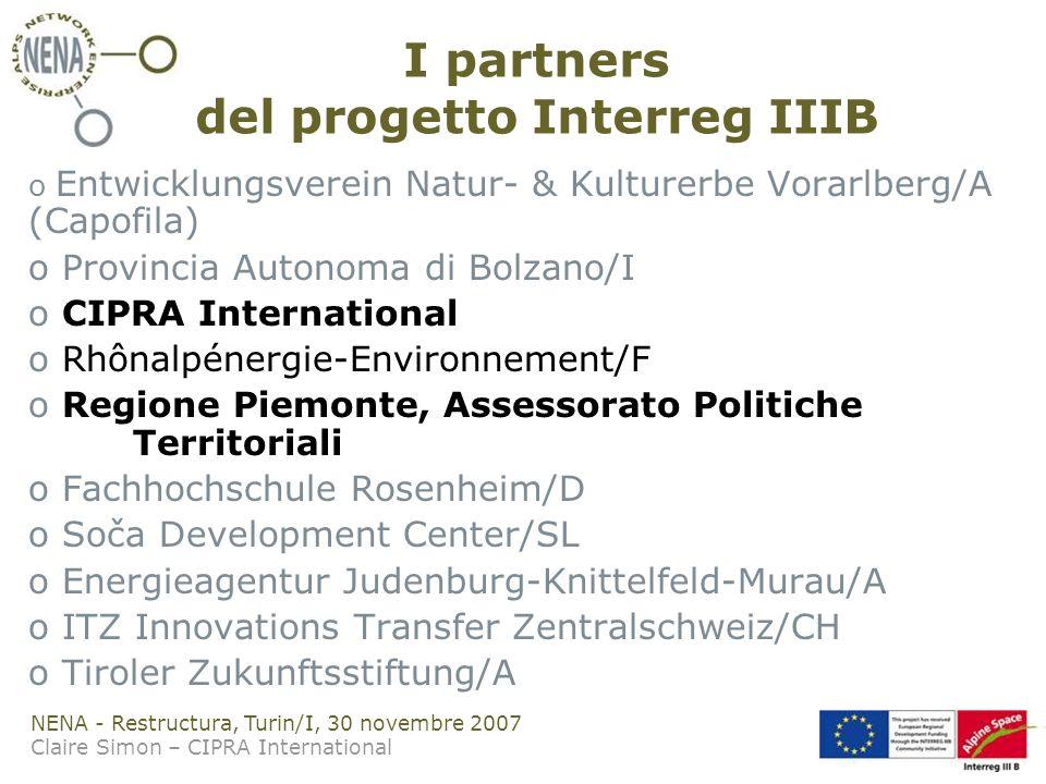 NENA - Restructura, Turin/I, 30 novembre 2007 Claire Simon – CIPRA International I partners del progetto Interreg IIIB o Entwicklungsverein Natur- & Kulturerbe Vorarlberg/A (Capofila) o Provincia Autonoma di Bolzano/I o CIPRA International o Rhônalpénergie-Environnement/F o Regione Piemonte, Assessorato Politiche Territoriali o Fachhochschule Rosenheim/D o Soča Development Center/SL o Energieagentur Judenburg-Knittelfeld-Murau/A o ITZ Innovations Transfer Zentralschweiz/CH o Tiroler Zukunftsstiftung/A