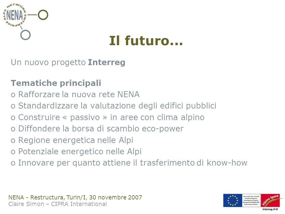 NENA - Restructura, Turin/I, 30 novembre 2007 Claire Simon – CIPRA International Il futuro...