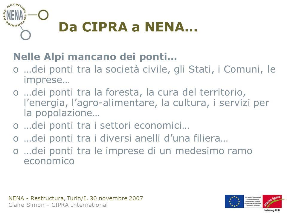 NENA - Restructura, Turin/I, 30 novembre 2007 Claire Simon – CIPRA International Da CIPRA a NENA… Nelle Alpi mancano dei ponti… o…dei ponti tra la società civile, gli Stati, i Comuni, le imprese… o…dei ponti tra la foresta, la cura del territorio, lenergia, lagro-alimentare, la cultura, i servizi per la popolazione… o…dei ponti tra i settori economici… o…dei ponti tra i diversi anelli duna filiera… o…dei ponti tra le imprese di un medesimo ramo economico