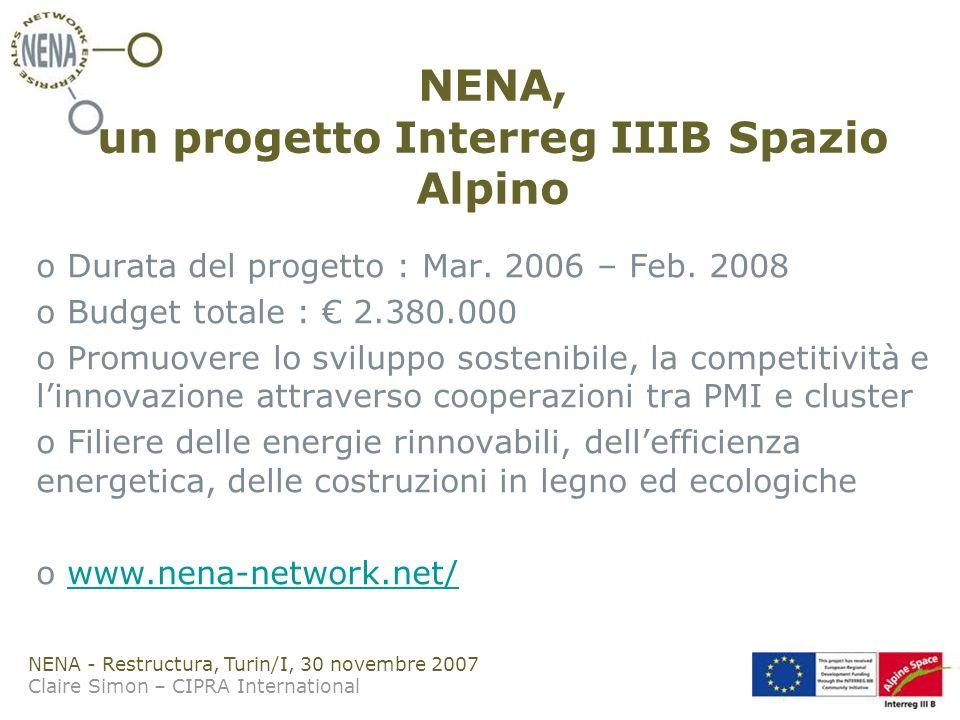 NENA - Restructura, Turin/I, 30 novembre 2007 Claire Simon – CIPRA International NENA, un progetto Interreg IIIB Spazio Alpino o Durata del progetto : Mar.