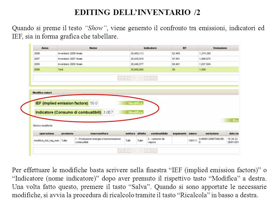EDITING DELLINVENTARIO /2 Quando si preme il testo Show, viene generato il confronto tra emissioni, indicatori ed IEF, sia in forma grafica che tabellare.