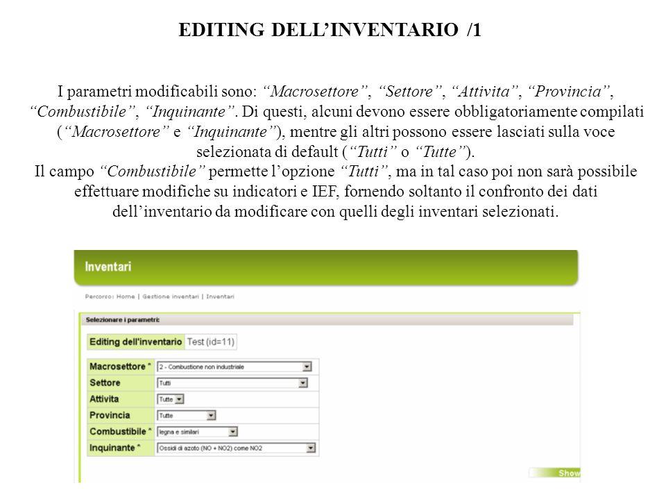 EDITING DELLINVENTARIO /1 I parametri modificabili sono: Macrosettore, Settore, Attivita, Provincia, Combustibile, Inquinante.