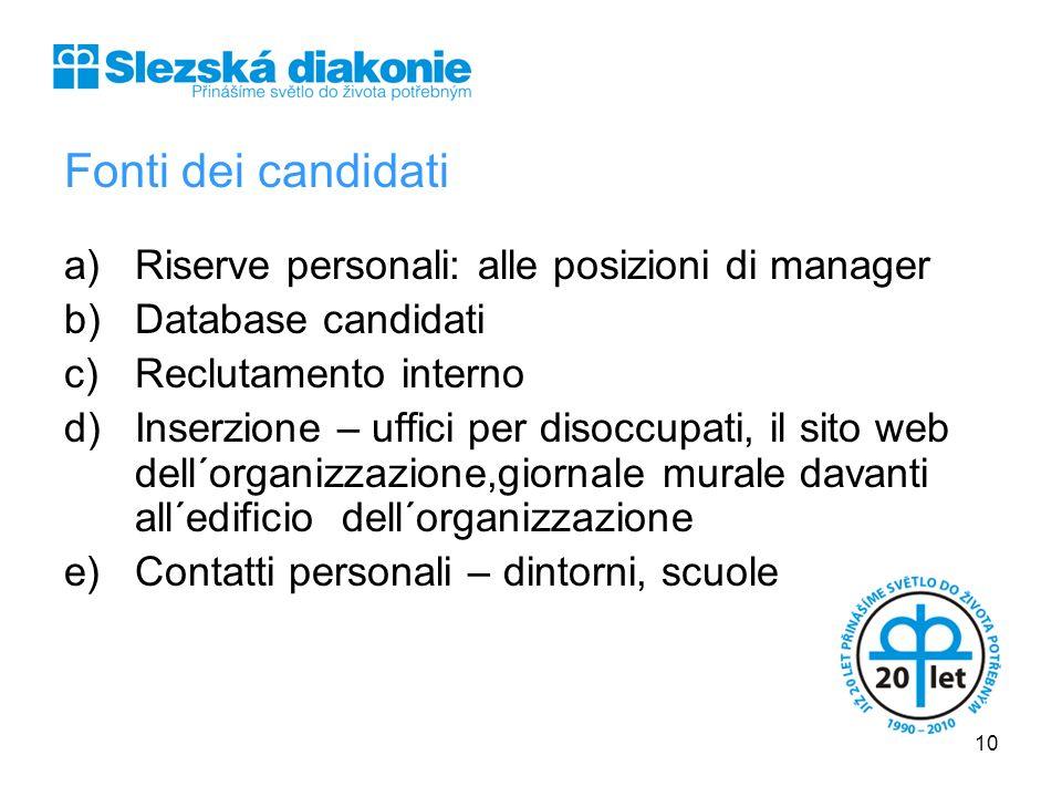 Fonti dei candidati a)Riserve personali: alle posizioni di manager b)Database candidati c)Reclutamento interno d)Inserzione – uffici per disoccupati,
