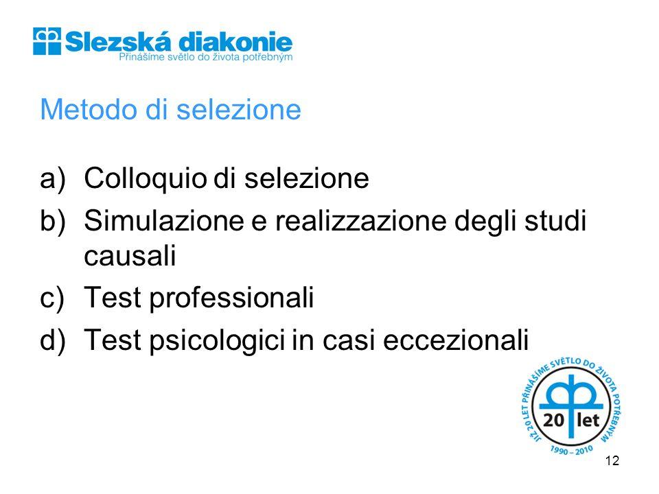 Metodo di selezione a)Colloquio di selezione b)Simulazione e realizzazione degli studi causali c)Test professionali d)Test psicologici in casi eccezio