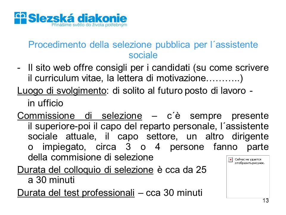 Procedimento della selezione pubblica per l´assistente sociale -Il sito web offre consigli per i candidati (su come scrivere il curriculum vitae, la l