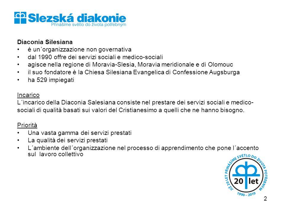 Diaconia Silesiana è un´organizzazione non governativa dal 1990 offre dei servizi sociali e medico-sociali agisce nella regione di Moravia-Slesia, Mor