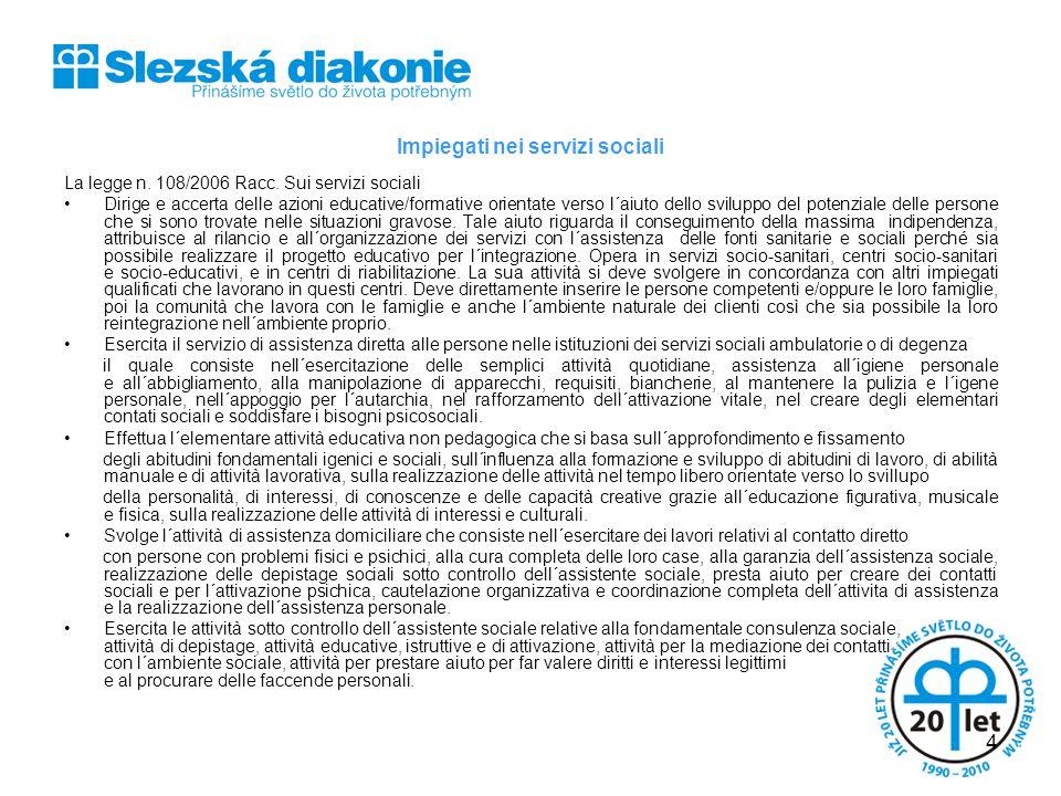 Impiegati nei servizi sociali La legge n. 108/2006 Racc. Sui servizi sociali Dirige e accerta delle azioni educative/formative orientate verso l´aiuto
