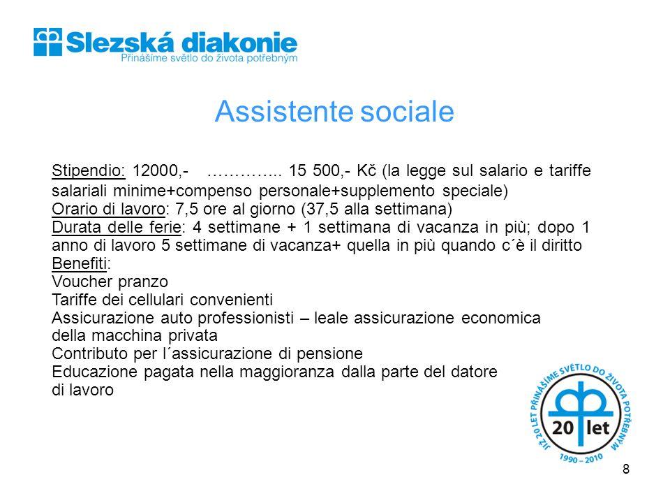 Assistente sociale Stipendio: 12000,- ………….. 15 500,- Kč (la legge sul salario e tariffe salariali minime+compenso personale+supplemento speciale) Ora