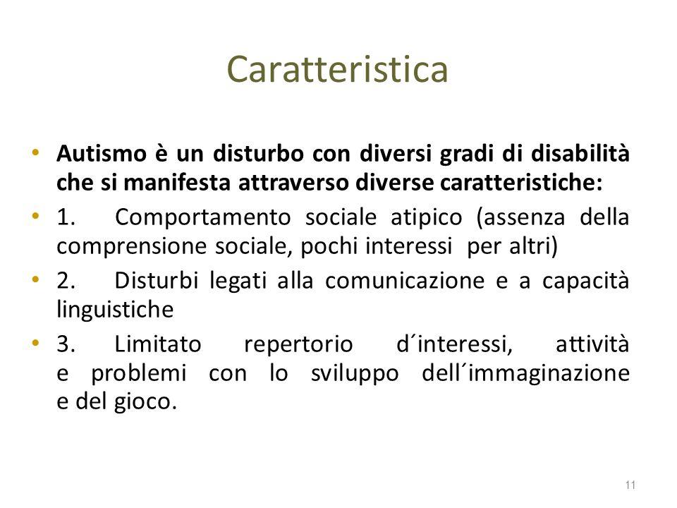 Caratteristica Autismo è un disturbo con diversi gradi di disabilità che si manifesta attraverso diverse caratteristiche: 1. Comportamento sociale ati