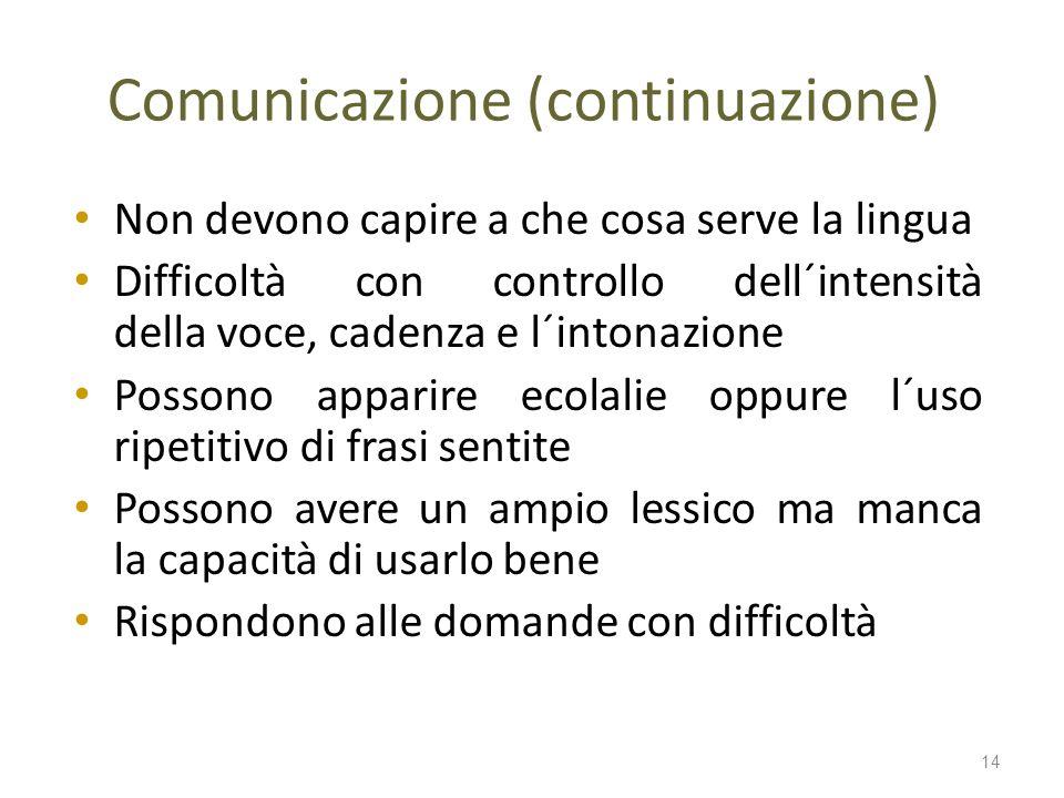 Comunicazione (continuazione) Non devono capire a che cosa serve la lingua Difficoltà con controllo dell´intensità della voce, cadenza e l´intonazione