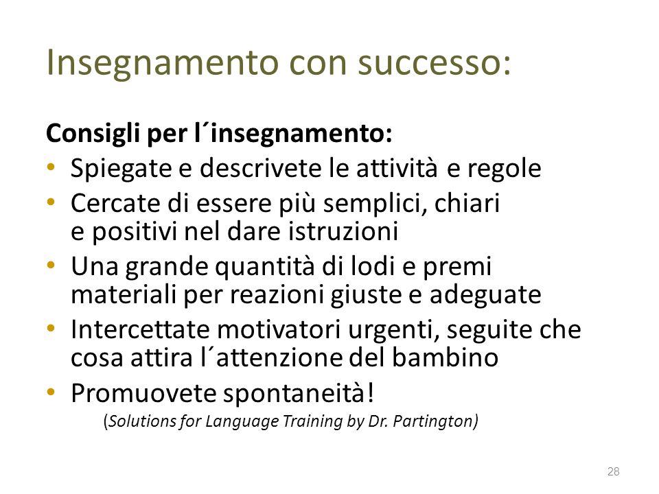 Insegnamento con successo: Consigli per l´insegnamento: Spiegate e descrivete le attività e regole Cercate di essere più semplici, chiari e positivi n