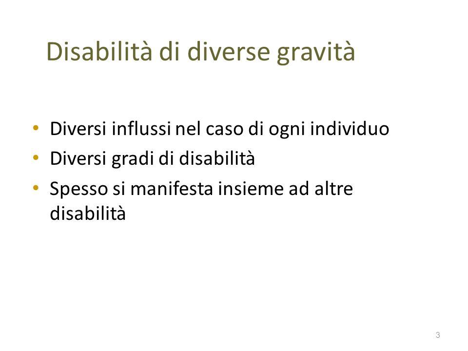 Disabilità di diverse gravità Diversi influssi nel caso di ogni individuo Diversi gradi di disabilità Spesso si manifesta insieme ad altre disabilità