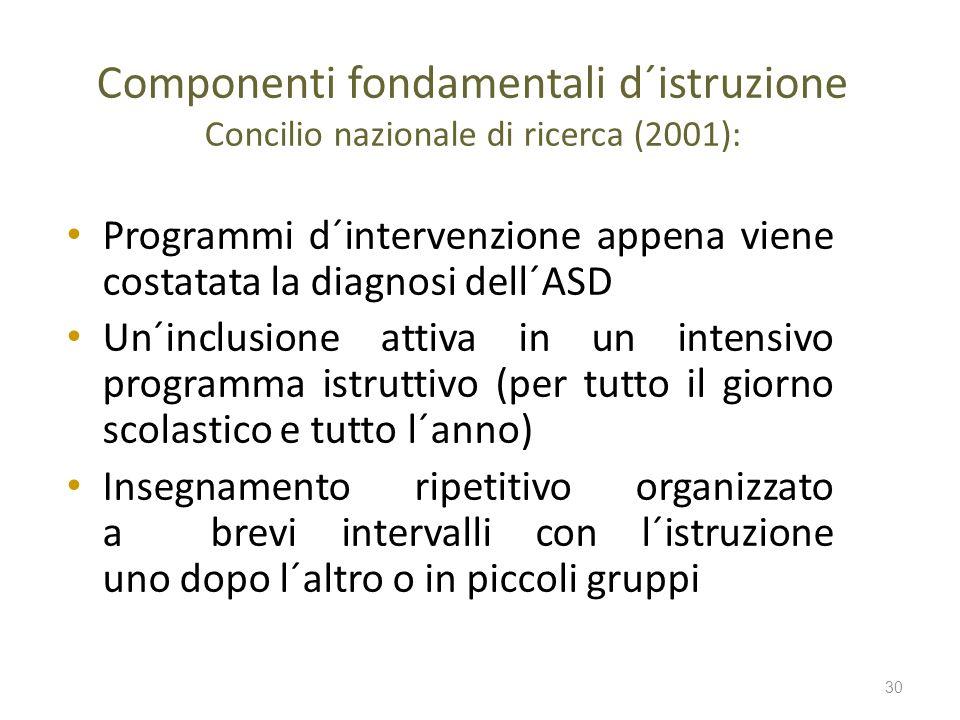 Componenti fondamentali d´istruzione Concilio nazionale di ricerca (2001): Programmi d´intervenzione appena viene costatata la diagnosi dell´ASD Un´in