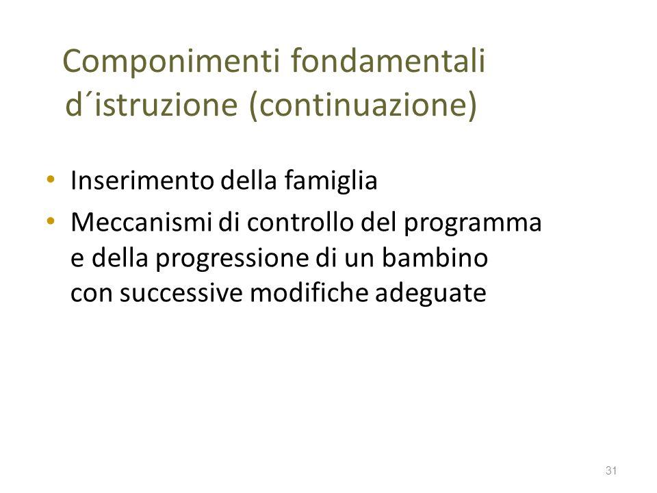 Componimenti fondamentali d´istruzione (continuazione) Inserimento della famiglia Meccanismi di controllo del programma e della progressione di un bam