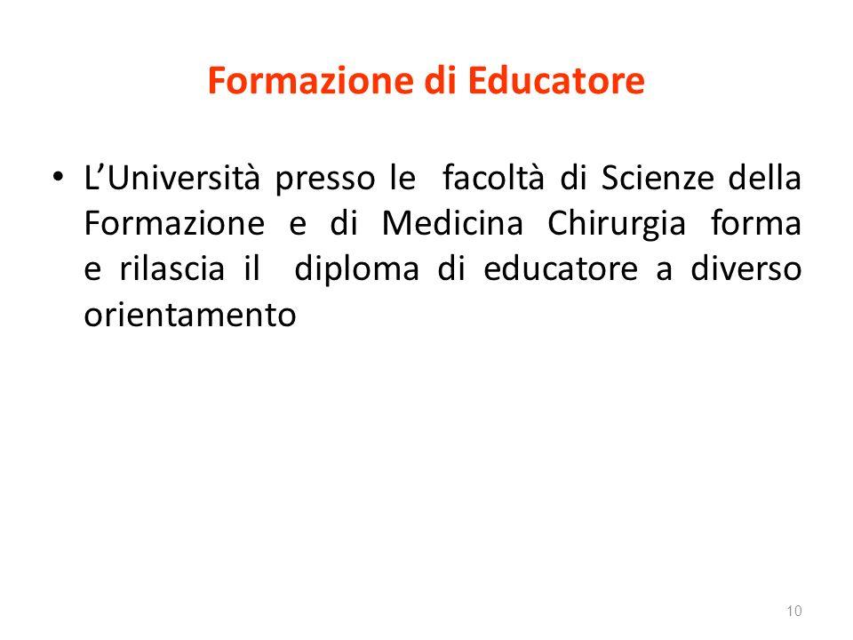 Formazione di Educatore LUniversità presso le facoltà di Scienze della Formazione e di Medicina Chirurgia forma e rilascia il diploma di educatore a diverso orientamento 10