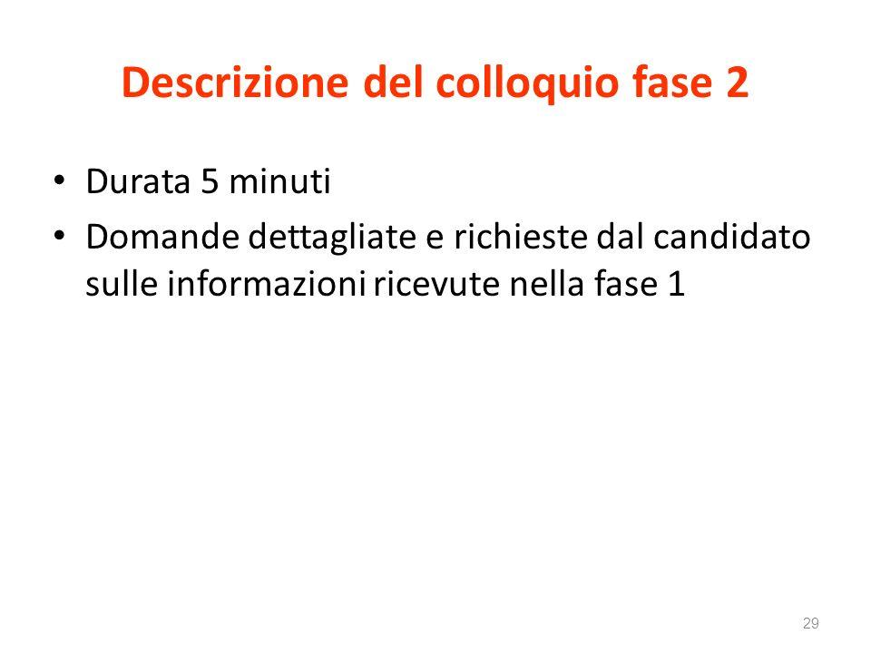 Descrizione del colloquio fase 2 Durata 5 minuti Domande dettagliate e richieste dal candidato sulle informazioni ricevute nella fase 1 29