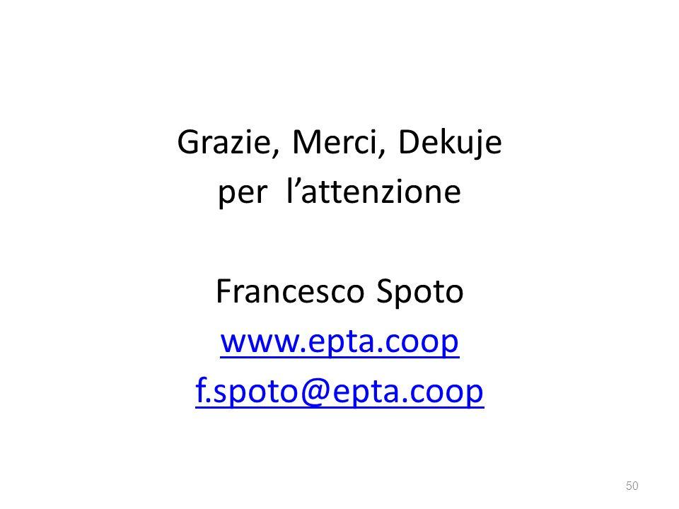 Grazie, Merci, Dekuje per lattenzione Francesco Spoto www.epta.coop f.spoto@epta.coop 50
