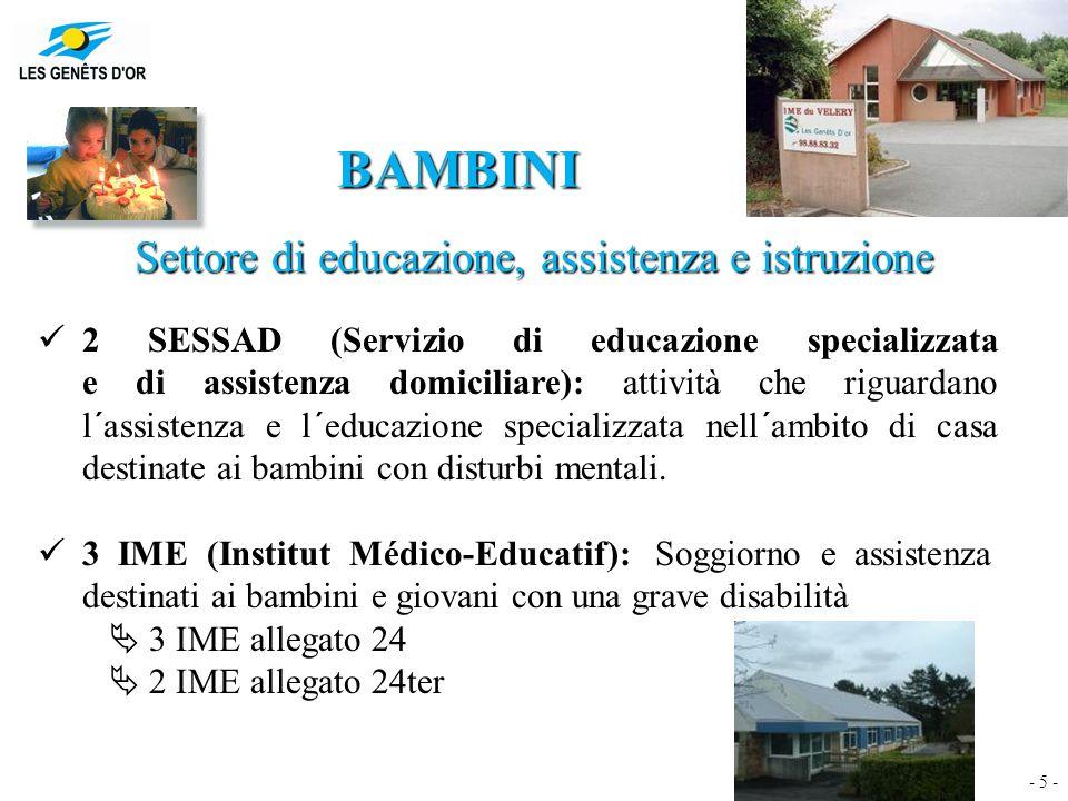 - 5 - BAMBINI Settore di educazione, assistenza e istruzione 2 SESSAD (Servizio di educazione specializzata e di assistenza domiciliare): attività che riguardano l´assistenza e l´educazione specializzata nell´ambito di casa destinate ai bambini con disturbi mentali.