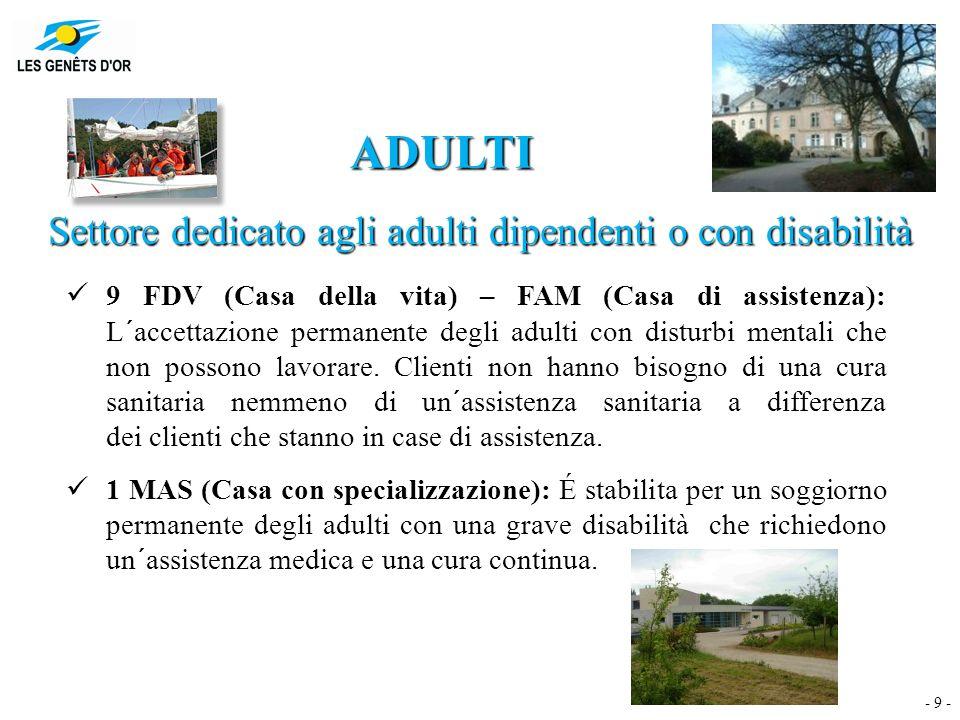 - 9 - ADULTI Settore dedicato agli adulti dipendenti o con disabilità 9 FDV (Casa della vita) – FAM (Casa di assistenza): L´accettazione permanente degli adulti con disturbi mentali che non possono lavorare.