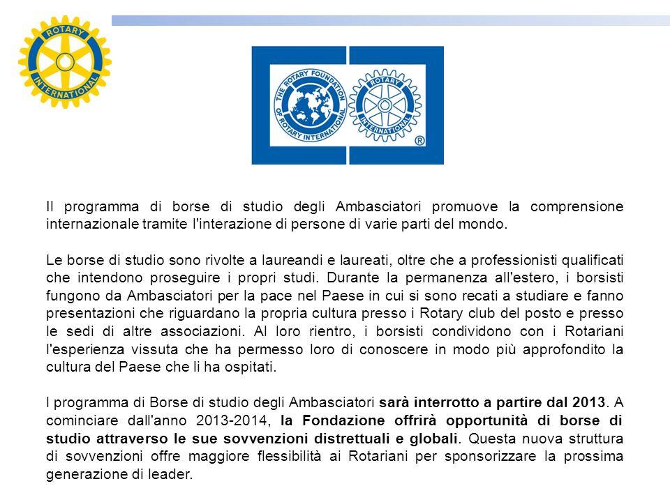 Il programma di borse di studio degli Ambasciatori promuove la comprensione internazionale tramite l'interazione di persone di varie parti del mondo.
