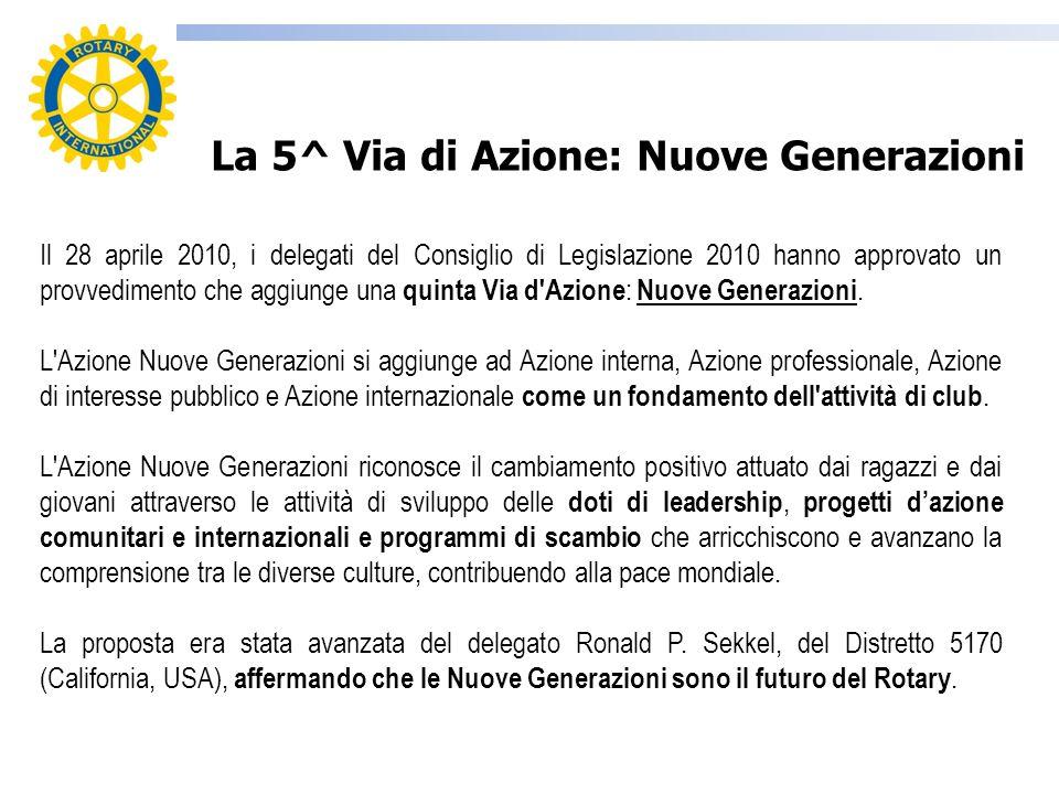 Il 28 aprile 2010, i delegati del Consiglio di Legislazione 2010 hanno approvato un provvedimento che aggiunge una quinta Via d'Azione : Nuove Generaz