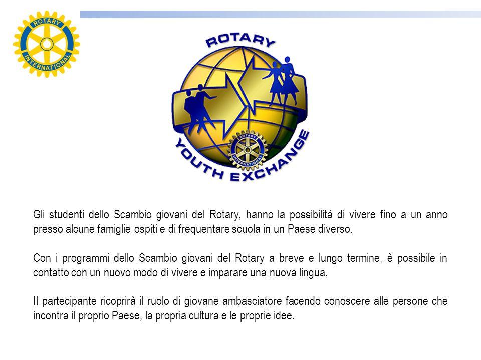 Gli studenti dello Scambio giovani del Rotary, hanno la possibilità di vivere fino a un anno presso alcune famiglie ospiti e di frequentare scuola in