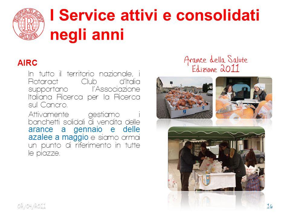 I Service attivi e consolidati negli anni AIRC In tutto il territorio nazionale, i Rotaract Club d Italia supportano l Associazione Italiana Ricerca per la Ricerca sul Cancro.