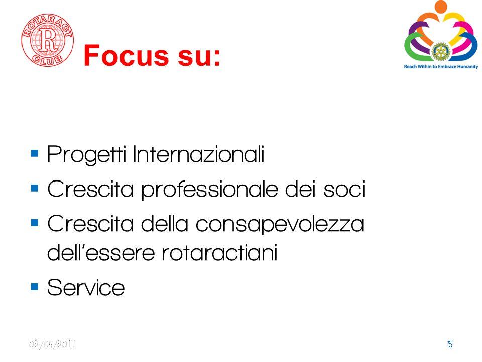 Focus su: Progetti Internazionali Crescita professionale dei soci Crescita della consapevolezza dellessere rotaractiani Service 02/04/20115