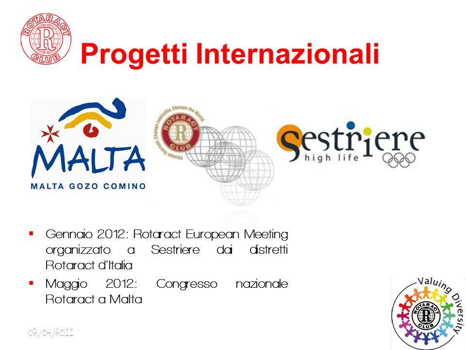 Progetti Internazionali Gennaio 2012: Rotaract European Meeting organizzato a Sestriere dai distretti Rotaract dItalia Maggio 2012: Congresso nazionale Rotaract a Malta 02/04/20119