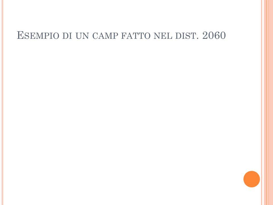 E SEMPIO DI UN CAMP FATTO NEL DIST. 2060