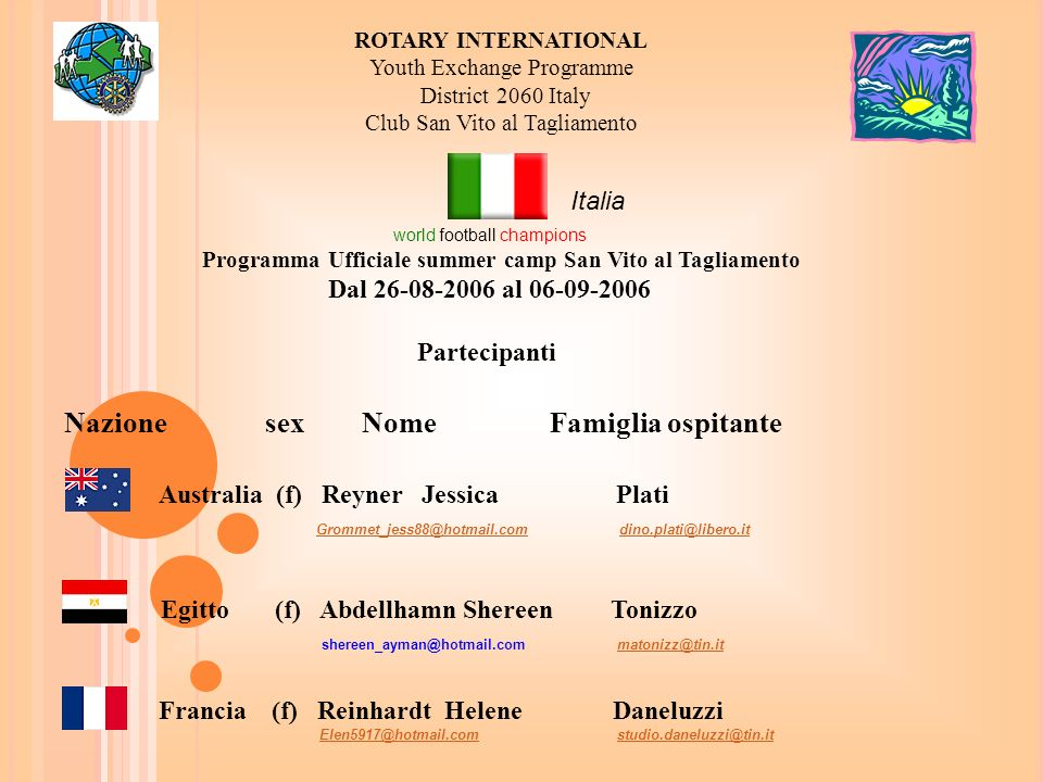 ROTARY INTERNATIONAL Youth Exchange Programme District 2060 Italy Club San Vito al Tagliamento world football champions Programma Ufficiale summer cam