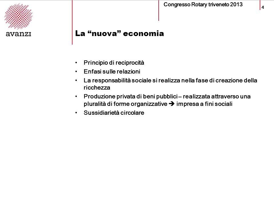 4 La nuova economia Congresso Rotary triveneto 2013 Principio di reciprocità Enfasi sulle relazioni La responsabilità sociale si realizza nella fase di creazione della ricchezza Produzione privata di beni pubblici – realizzata attraverso una pluralità di forme organizzative impresa a fini sociali Sussidiarietà circolare