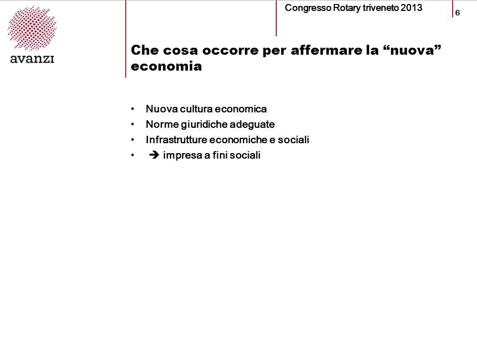6 Che cosa occorre per affermare la nuova economia Congresso Rotary triveneto 2013 Nuova cultura economica Norme giuridiche adeguate Infrastrutture economiche e sociali impresa a fini sociali
