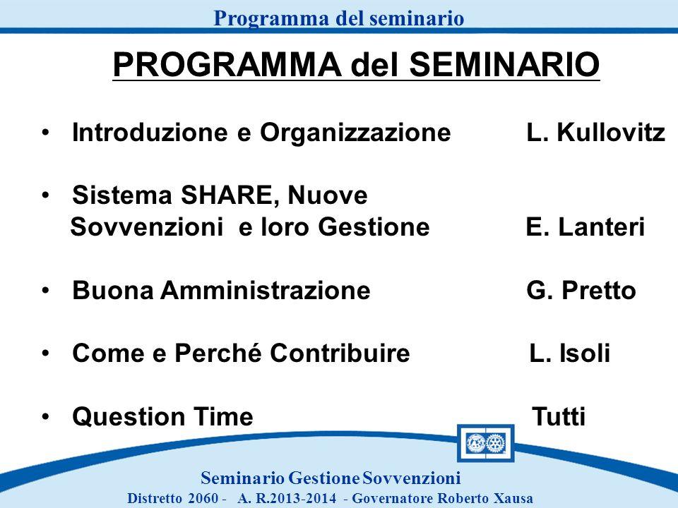 Programma del seminario PROGRAMMA del SEMINARIO Introduzione e Organizzazione L. Kullovitz Sistema SHARE, Nuove Sovvenzioni e loro Gestione E. Lanteri