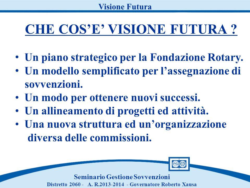 Visione Futura CHE COSE VISIONE FUTURA ? Un piano strategico per la Fondazione Rotary. Un modello semplificato per lassegnazione di sovvenzioni. Un mo