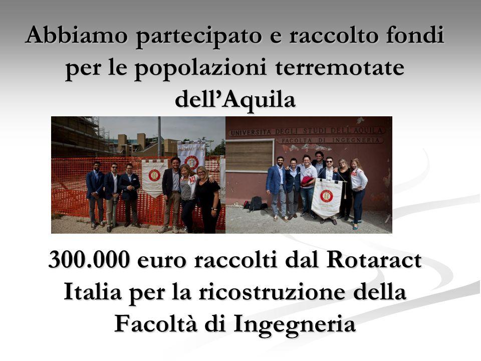 Abbiamo partecipato e raccolto fondi per le popolazioni terremotate dellAquila 300.000 euro raccolti dal Rotaract Italia per la ricostruzione della Fa