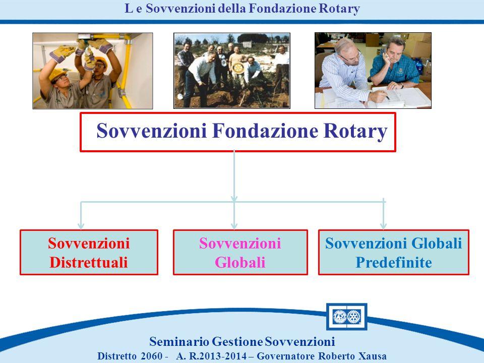 L e Sovvenzioni della Fondazione Rotary Sovvenzioni Fondazione Rotary Sovvenzioni Distrettuali Sovvenzioni Globali Predefinite Seminario Gestione Sovv