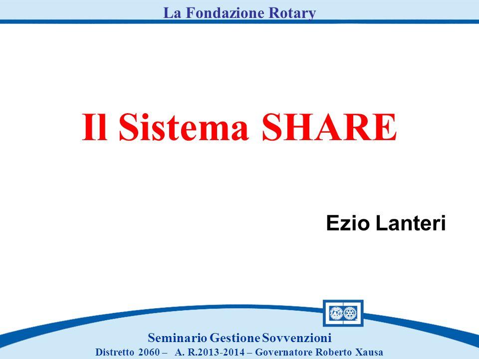 Il Sistema SHARE Seminario Gestione Sovvenzioni Distretto 2060 – A. R.2013-2014 – Governatore Roberto Xausa La Fondazione Rotary Ezio Lanteri