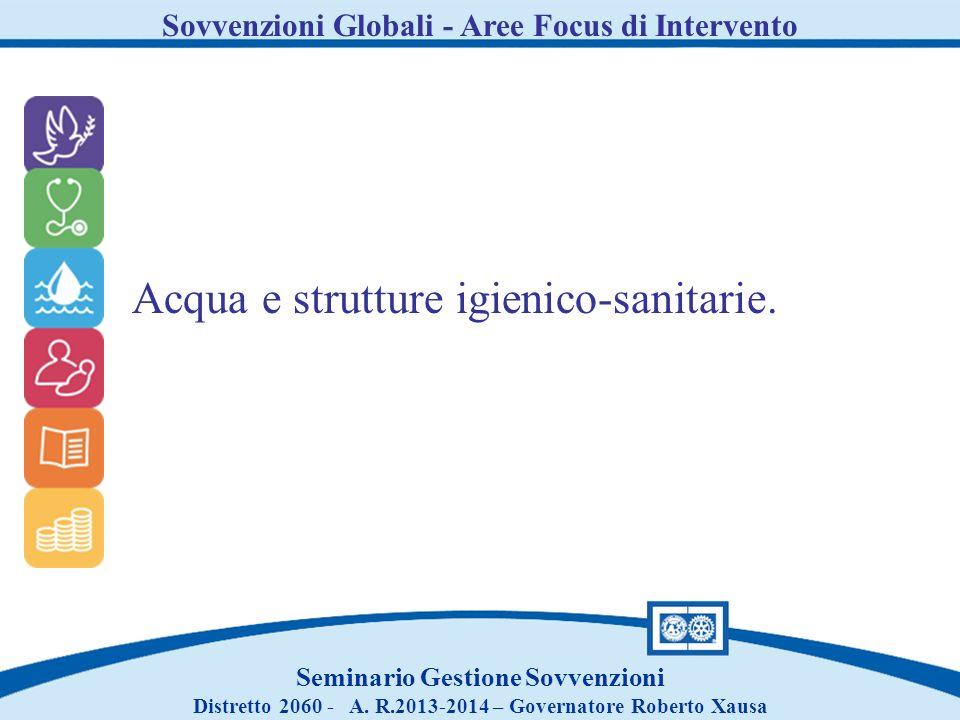 Sovvenzioni Globali - Aree Focus di Intervento Seminario Gestione Sovvenzioni Distretto 2060 - A. R.2013-2014 – Governatore Roberto Xausa Acqua e stru