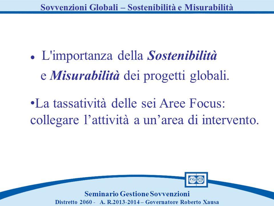 Sovvenzioni Globali – Sostenibilità e Misurabilità Seminario Gestione Sovvenzioni Distretto 2060 - A. R.2013-2014 – Governatore Roberto Xausa L'import