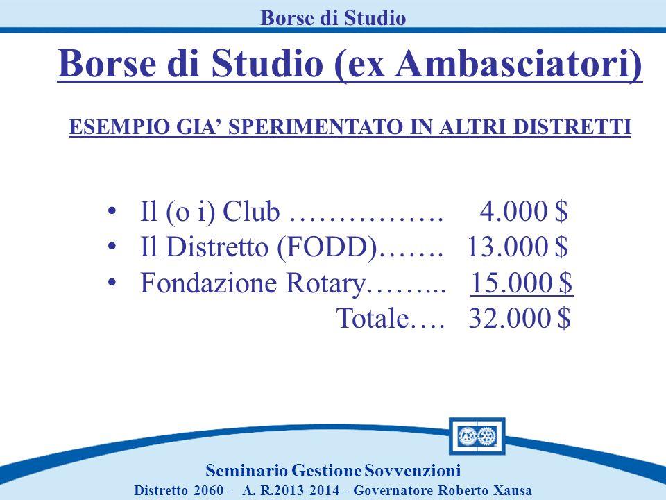 Borse di Studio Seminario Gestione Sovvenzioni Distretto 2060 - A. R.2013-2014 – Governatore Roberto Xausa Borse di Studio (ex Ambasciatori) ESEMPIO G