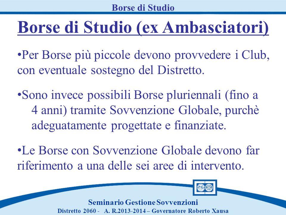 Borse di Studio Seminario Gestione Sovvenzioni Distretto 2060 - A. R.2013-2014 – Governatore Roberto Xausa Borse di Studio (ex Ambasciatori) Per Borse