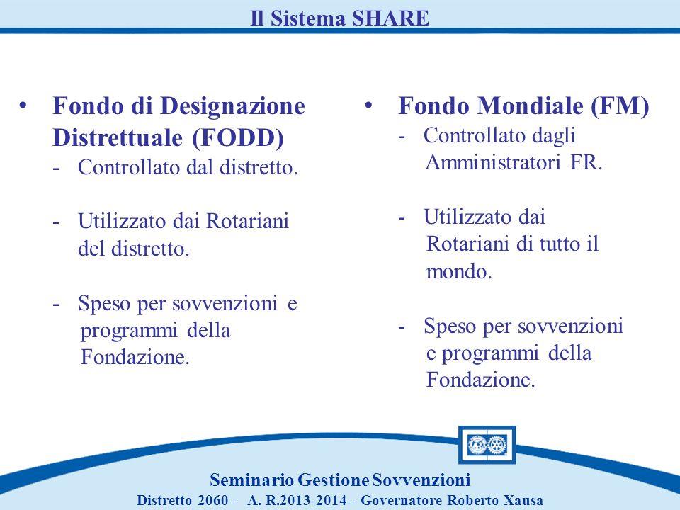 Seminario Gestione Sovvenzioni Distretto 2060 - A. R.2013-2014 – Governatore Roberto Xausa Il Sistema SHARE Fondo di Designazione Distrettuale (FODD)