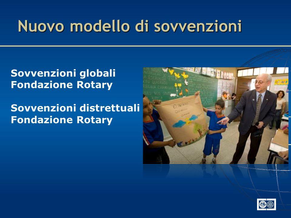 Sovvenzioni globali Fondazione Rotary Sovvenzioni distrettuali Fondazione Rotary Nuovo modello di sovvenzioni