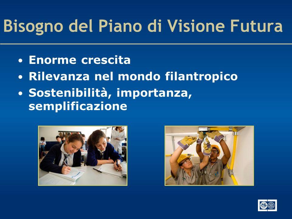 Bisogno del Piano di Visione Futura Enorme crescita Rilevanza nel mondo filantropico Sostenibilità, importanza, semplificazione