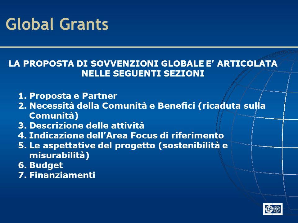 LA PROPOSTA DI SOVVENZIONI GLOBALE E ARTICOLATA NELLE SEGUENTI SEZIONI 1.Proposta e Partner 2.Necessità della Comunità e Benefici (ricaduta sulla Comunità) 3.Descrizione delle attività 4.Indicazione dellArea Focus di riferimento 5.Le aspettative del progetto (sostenibilità e misurabilità) 6.Budget 7.Finanziamenti Global Grants