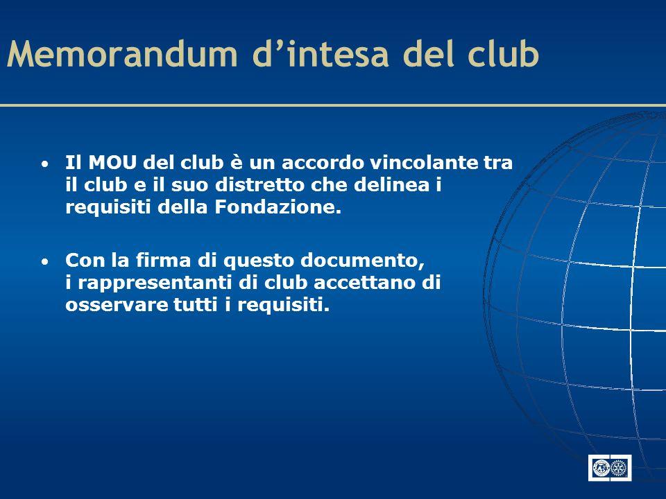 Memorandum dintesa del club Il MOU del club è un accordo vincolante tra il club e il suo distretto che delinea i requisiti della Fondazione.
