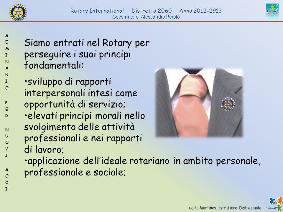 Carlo Martines, Istruttore Distrettuale Rotary International Distretto 2060 Anno 2012-2913 Governatore Alessandro Perolo Siamo entrati nel Rotary per